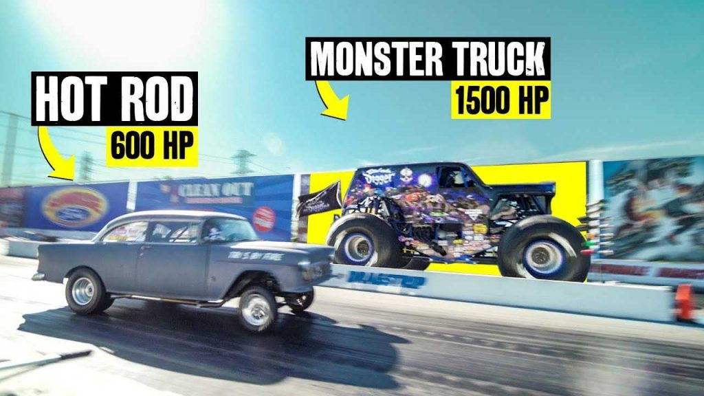 Monster Truck Drag Races On Pavement, Finds It's Not So Easy